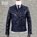 Designer retro blue genuine leather coat 100%lambskin jacket real leather motorcycle jacket manteau homme veste cuir homme LT794