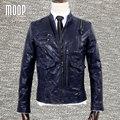 Diseñador retro azul abrigo de cuero genuino 100% de piel de cordero chaqueta de cuero real de la motocicleta chaqueta de manteau homme veste cuir homme LT794