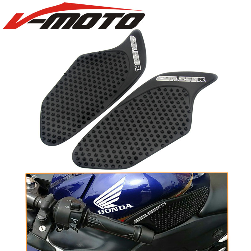 Black Rubber Motorcycle Gas Tank Pad Traction Side Pads Gas Fuel Knee Grip Decal Protector For Honda Cbr250r Crf 250r 2010-2016 Frames & Fittings