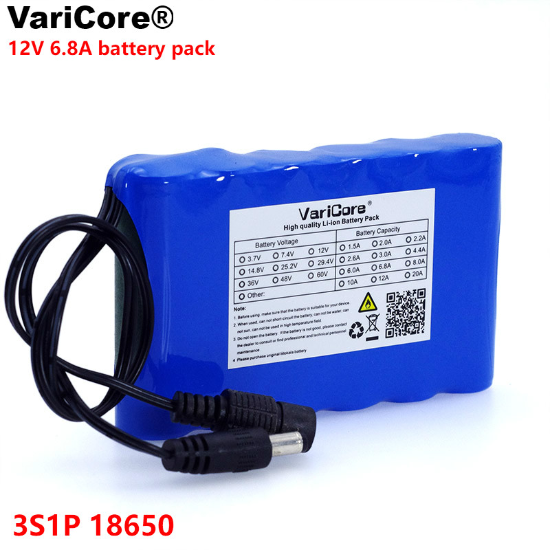 VariCore 12 V 6800 Mah Portable Super 18650 Rechargeable Lithium Ion battery pack capacity CCTV Cam Monitor DC 12.6V 6.8A