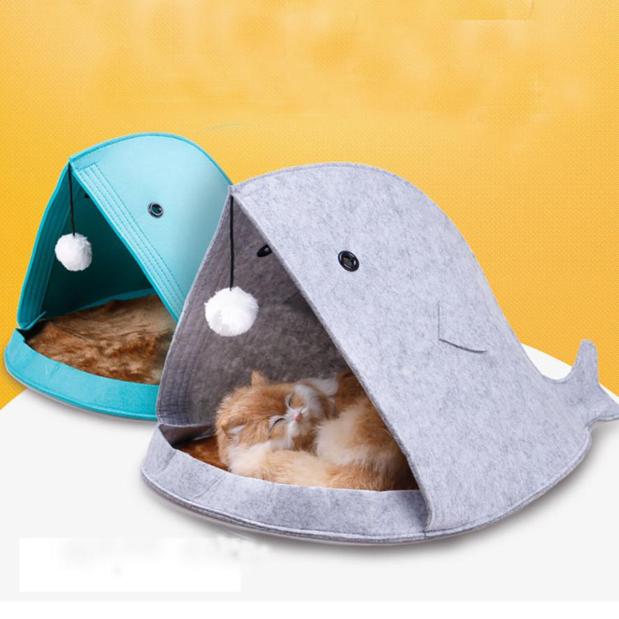 Shark Shape Dog Beds Warm Soft Foldable Dog House 2017 o30
