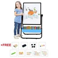 Kid's Art Easel Double sided Easel for Kids Whiteboard Chalkboard with Adjustable StandTurn 360 Degrees Bonus Magnetic Letters