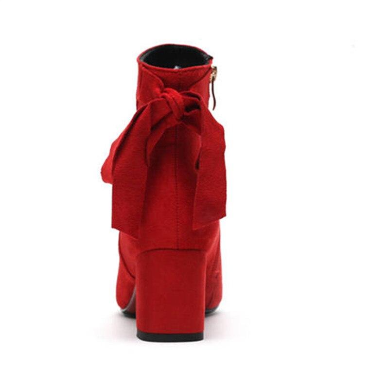 Zipper Bowknot 2018 Rouge Memunia De Automne Chaussures Hiver Bottes Talons Mariage Cheville Solides Chaude Femmes Couleurs Hauts Vente Élégantes MVSUzpqG