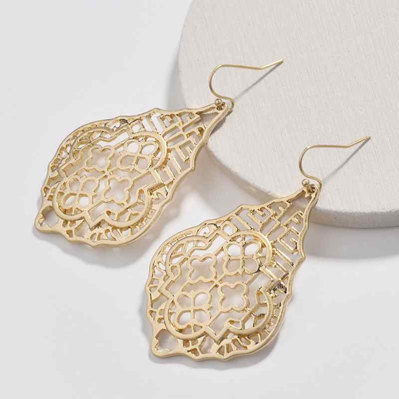 Moroccan Filigree Teardrop Cutout Hollow Clover Designer Inspired Dangle Drops Statement Drop Earrings for Women