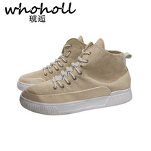 Whoholl 2018 New Quality Mens Vulcanize Shoes Men Spring Autumn Top Fashion Sneakers Lace-up High Style Solid Colors Man