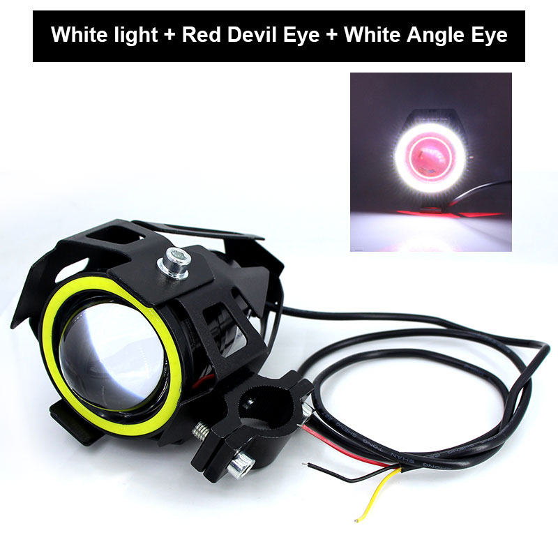 Image 4 - 2PCS x 125W U7 Motorcycle Angel Eyes Headlight DRL spotlights auxiliary bright LED bicycle lamp Fog Light Spot light +Switch    -