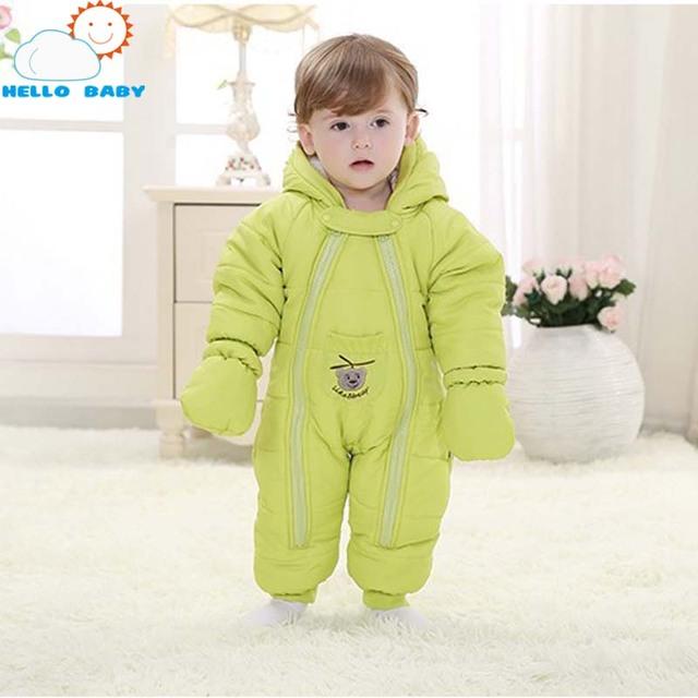 Baby girl ropa escalada chaqueta traje monos mono bebé ropa gruesa caliente acolchada invierno jumpers traje de estilo de la cremallera