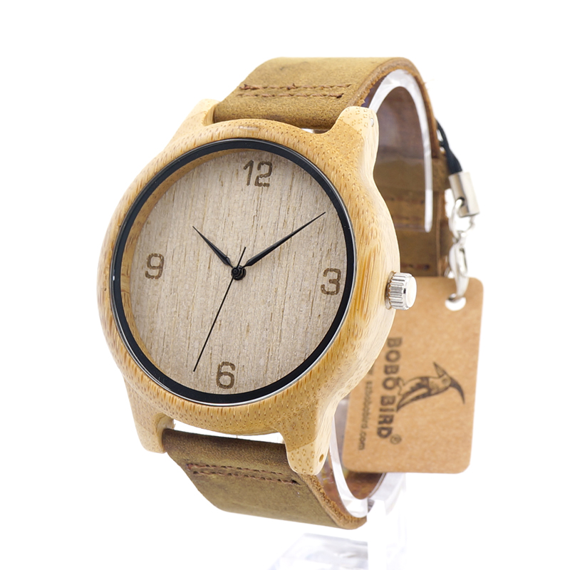BOBO BIRD Bamboo Wooden Wristwatch Men with Brown Cowhide Leather Strap Japanese Quartz Movement Casual Quartz Watches With Box цена и фото
