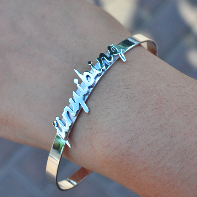 6d3010958 Wholesale Sterling Silver Cuff Bangle With 3D Name Plate Personalized Name  Words Quote Engraved Band Custom Christmas Gift