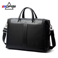 BOPAI Large Capacity Men's Handbag Travel Duffle Totes Casual Fashion Business Men Computer Laptop Bag Black Waterproof Men Bag