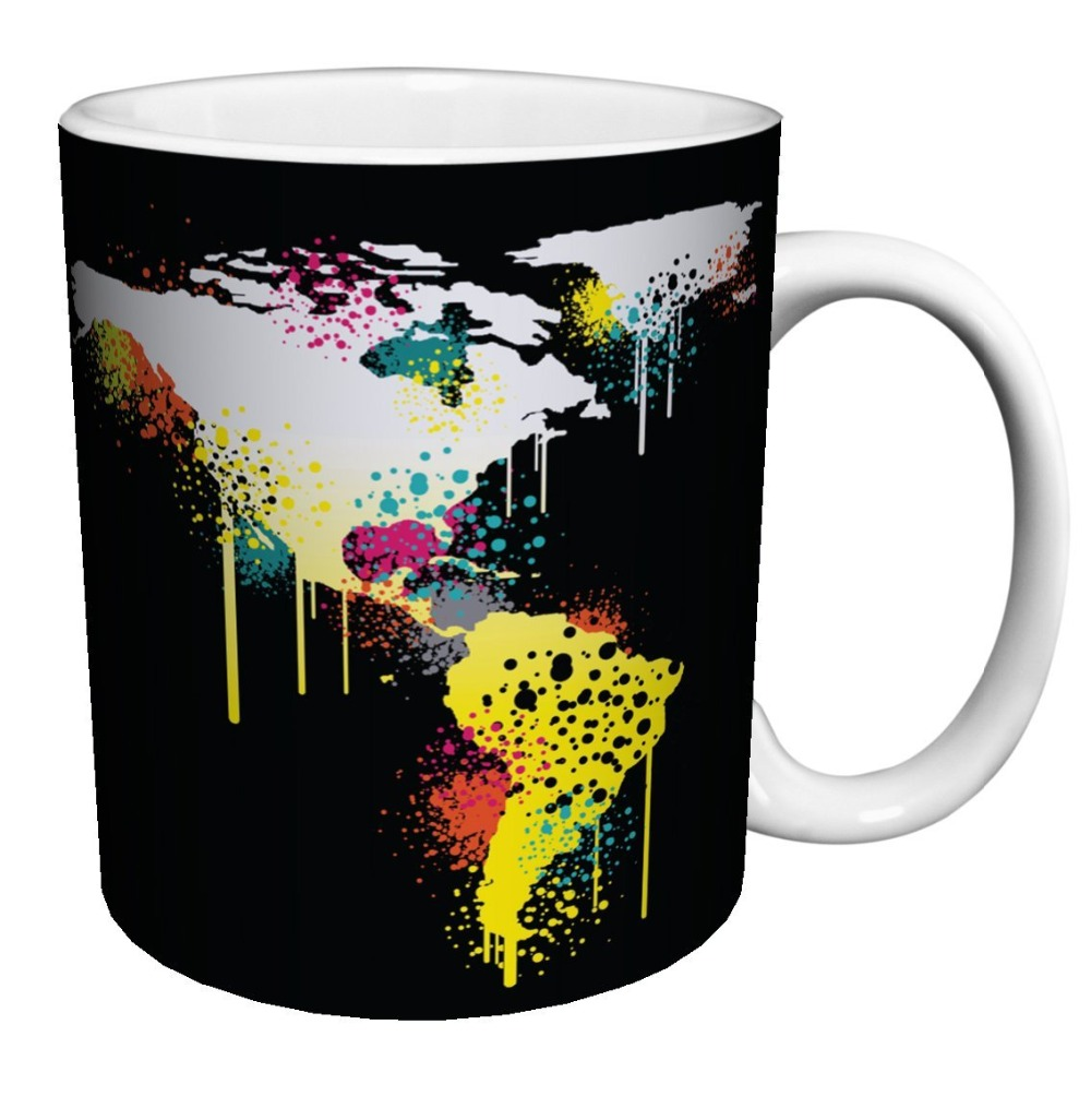World Map Cool Coffee Mugs Black Cold Hot Changing Color