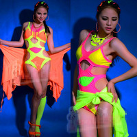 Summer Swimwear One Piece Fashion Dj Female Singer Costumes Ds Costume Roupa Feminina DJ Dance Costume Bodysuit Dj Costume