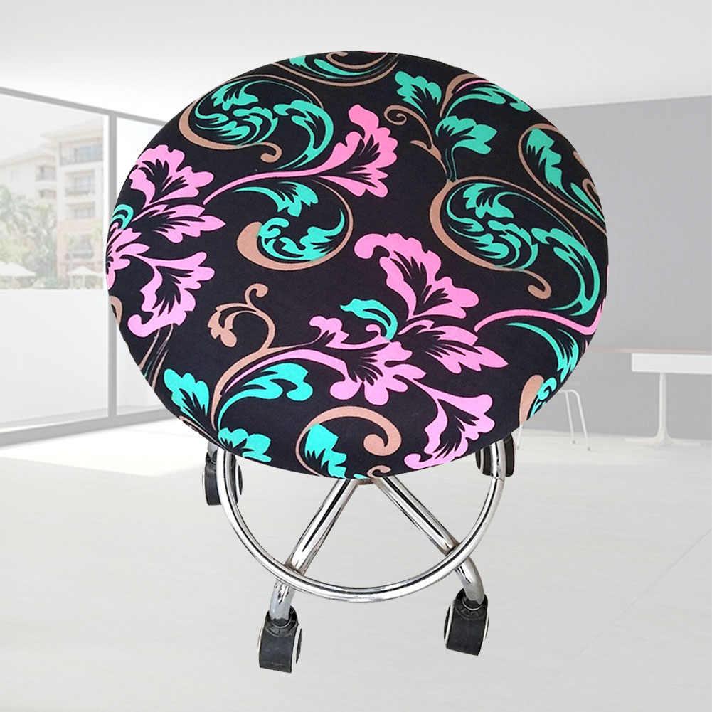 Круглый стул полиэстер мягкий цветочный принт Slipcover табурет крышка бар Домашний орнамент сиденье четыре сезона встречи эластичный офис