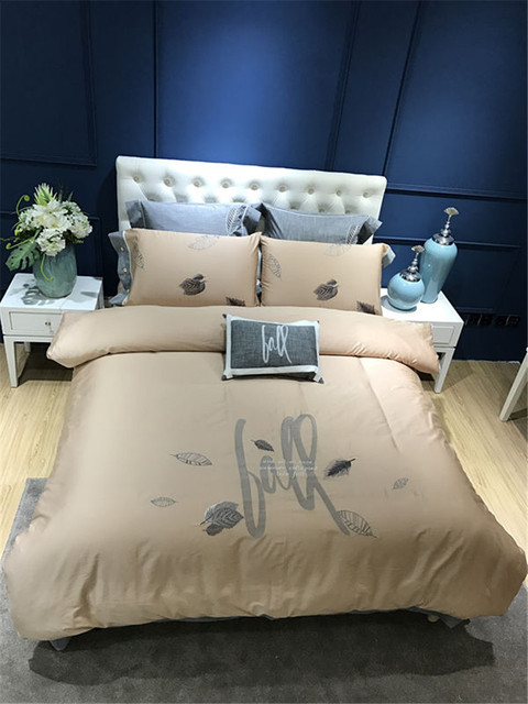 4 7 Pieces Leaves Embroidery Luxury Egyptian Cotton Bedding Set King Beige