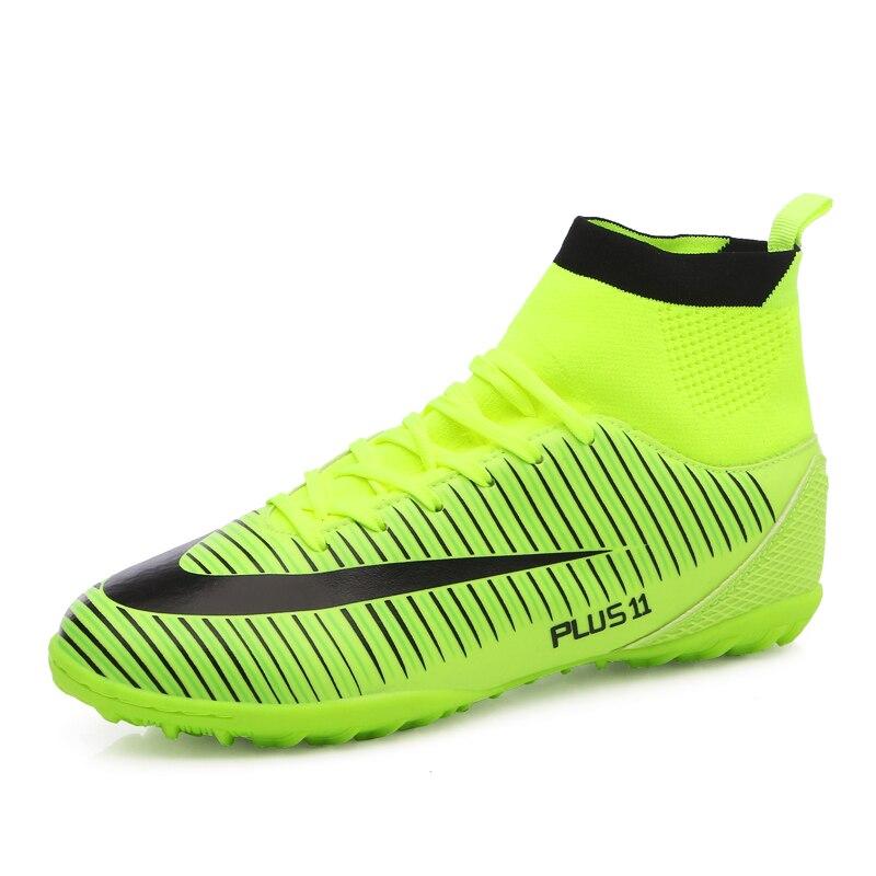 Haute cheville hommes chaussures de Football TF/FG/AG longues pointes d'entraînement bottes de Football chaussures résistantes crampons chaussures de Football pas cher - 5