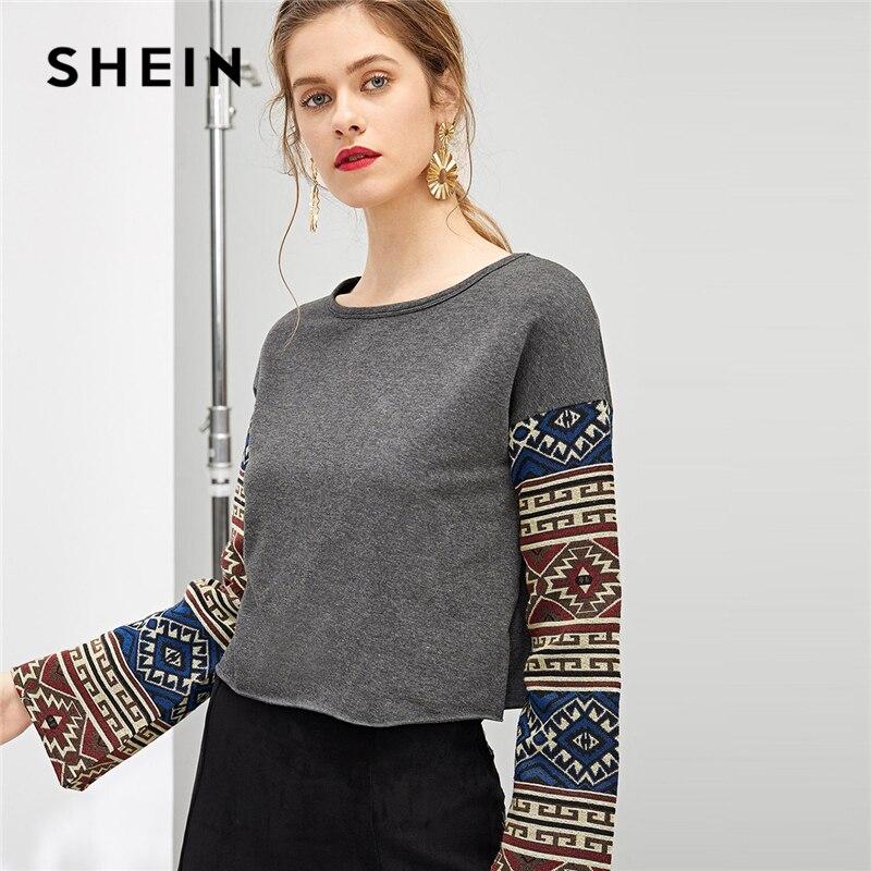 SHEIN gris Highstreet elegante Paisley estampado geométrico cuello redondo manga larga Tee 2018 otoño Casual ropa de trabajo mujer camiseta Top