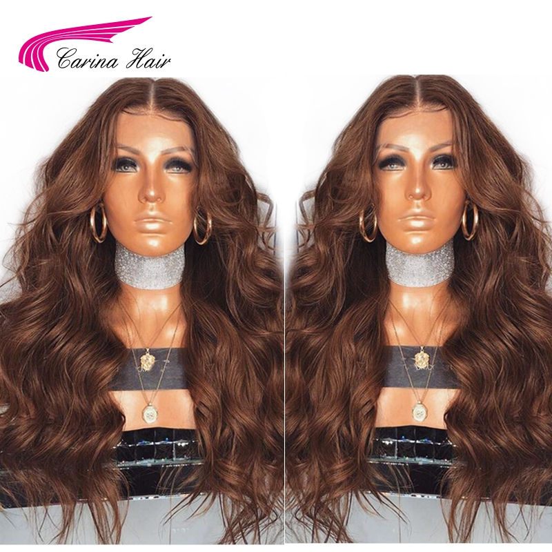 Carina Lace Front Human Hair Wigs with Baby Hair Pre Plucked Hairline Brazilian Body Wave Remy