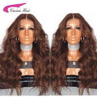 Carina Lace Front Human Hair Wigs with Baby Hair Pre Plucked Hairline Brazilian Body Wave Remy Hair Glueless Color Lace Wigs