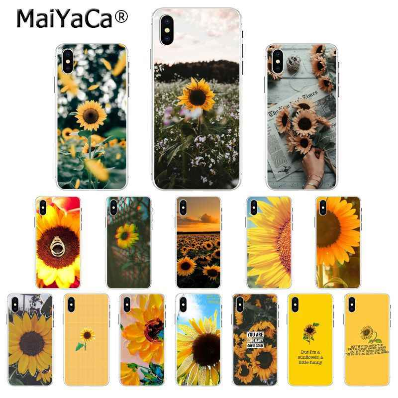 MaiYaCa Beautiful yellow flower sunflower Transparent Soft Phone Case for Apple iPhone 8 7 6 6S Plus X XS MAX 5 5S SE XR Cover
