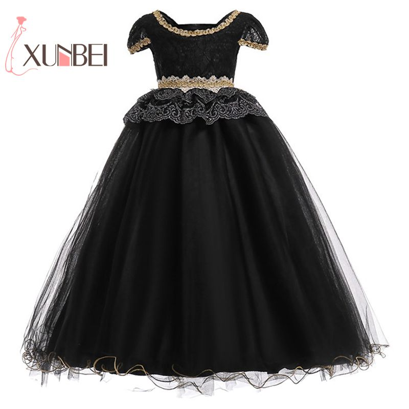 Luxurious Floor Length Princess Black Lace   Flower     Girl     Dresses   2018 Beaded   Girls   Pageant   Dress   First Communion   Dresses