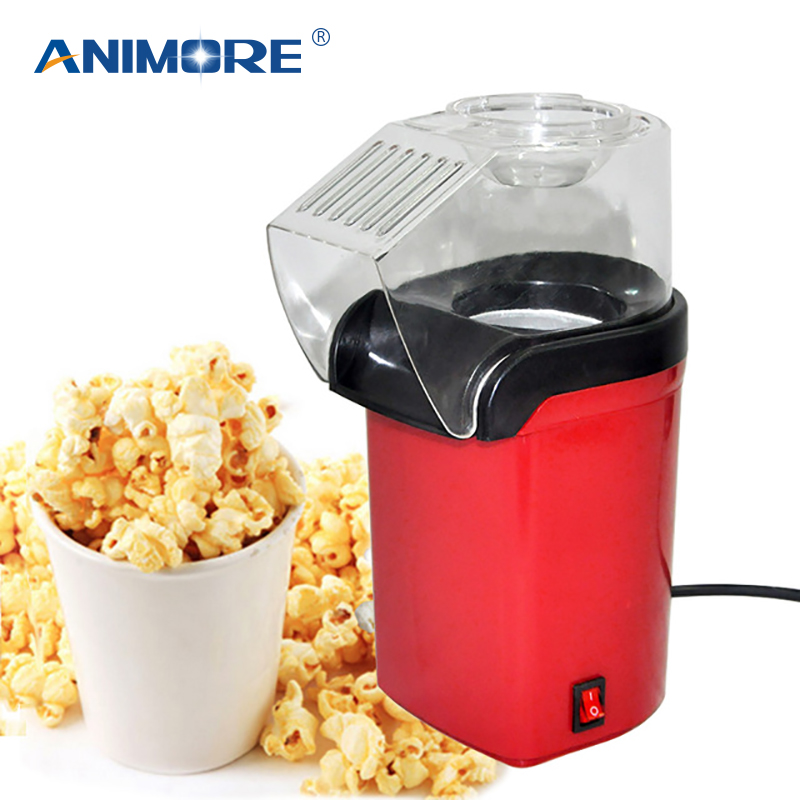 ANIMORE Home Round/Square Popcorn Maker 1200W Red Mini DIY Corn Maker Kitchen Desktop Hot Air Electric Popcorn Maker