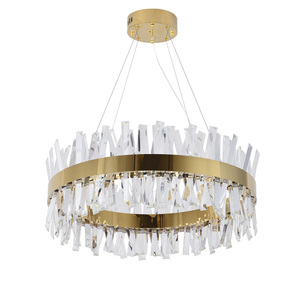 Image 2 - חדש מודרני מסעדת נברשת כרום/זהב עגול קריסטל מנורת סלון קישוט נברשת LED מלון מנורה