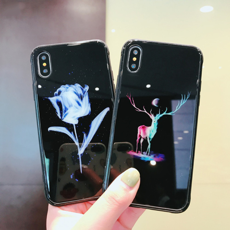 For iphone XS Max Night Light Phone Case For Apple iphone 7 6s 8 Plus Tempered