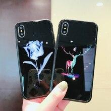 Для iphone XS Max Ночной свет чехол для телефона для Apple iphone 7 6s 8 плюс закаленное стекло крышка силиконовый чехол для iphone XS Max чехол