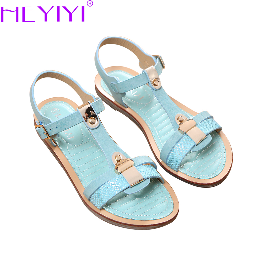 HEYIYI Women Sandals flat Heel Soft EVA Insole PU Leather Large Size T-Strap Sewing Rubber Sole Summer Came Blue Shoes fashion boutique beige rubber soft front insole for ladies fit any shoes