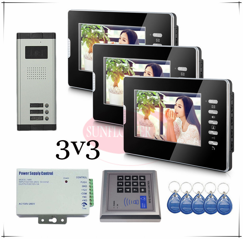 Brand new Wired 7 Video Door Phone Intercom Doorbell System 3 Monitor 3 buttons outdoor unit for 3 apartments Drop shipping brand new wired 7 inch color video intercom door phone set system 2 monitor 1 waterproof outdoor camera in stock free shipping