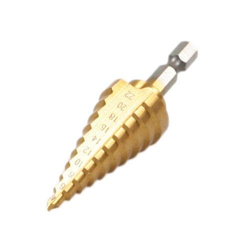 Fixmee HSS Titanium-Coated Step Drill Set 1/4 hex shank 4-22mm cutting tool Reamer g 3pcs set quick change hex shank larger titanium coated m2 tool step drill bit set 71960 t