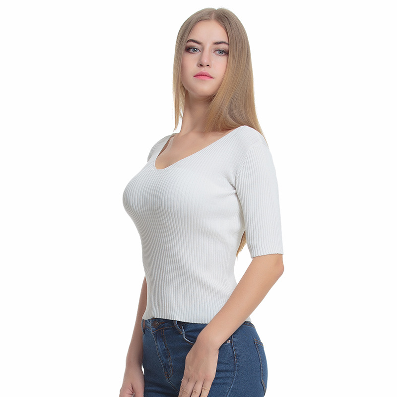 High Quality 2018 New Women Sweaters and Pullovers Half Sleeve O-Neck Designer Fashion Slim Female White Knitted Sweater Jumper