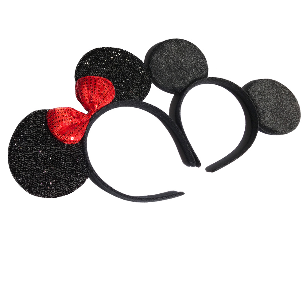 12pcs Hair Accessories  Minnie/Mickey Ears Solid Black & Red sequins Bow Headbands for Boy Girl Birthday Party Celebration mism girl french hair bun maker multifunctional hair accessories for women fine roller curls styling holder curlers headbands