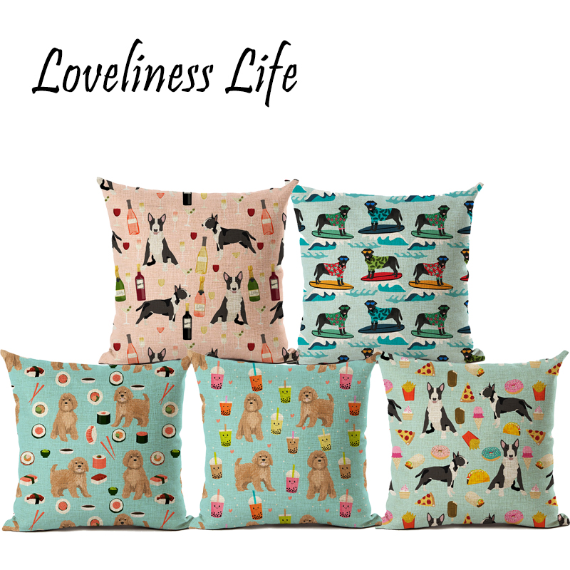 Newest Square Cotton Linen Floral Bull Terrier Painted Dog Dachshund 3D Cheap Cushion Cover For Home Sofa Pillow Case Almofadas