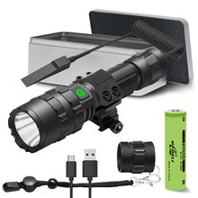 tactical flashlight 5000 lumens rat tail switch rechargeable led torch usb hunting led Xlamp cree xm l2 waterproof 18650 battery(China)