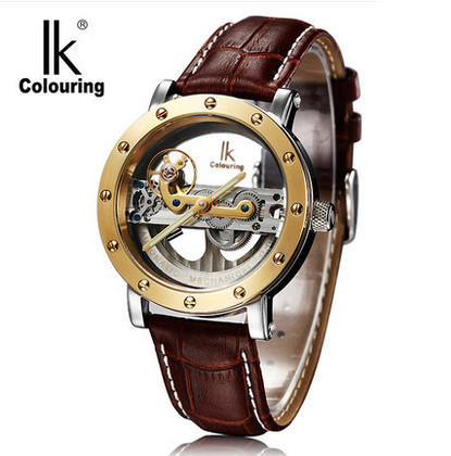 Luxury Brand IK Colouring Leather Strap Transparent Dial Golden Case Mens Watches Automatic Mechanical Orologio Men