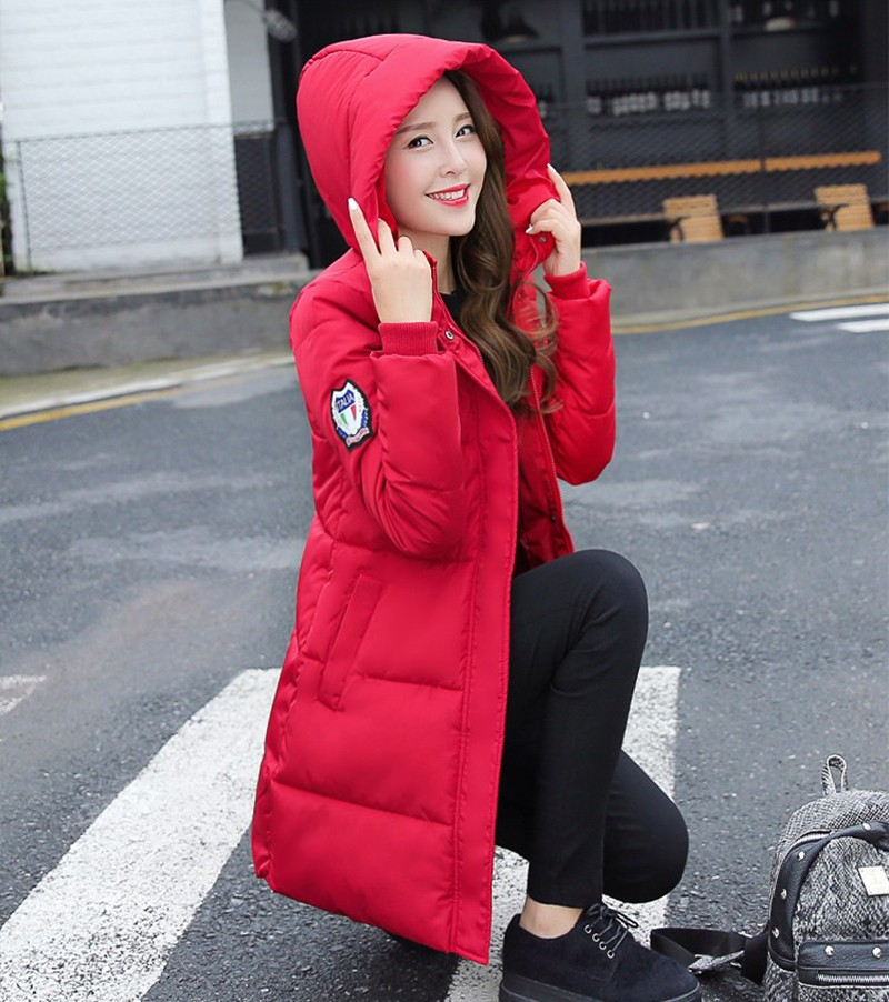 Winter Jacket Women Slim Female Coat Thicken Parka Down Cotton Clothing Red Clothing Hooded Student (3)