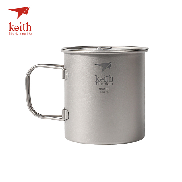 Keith Outdoor Titanium Water Mugs With Folding Handles Titanium Lids Drinkware Camping Cups Ultralight Travel Mug 300ml-900ml