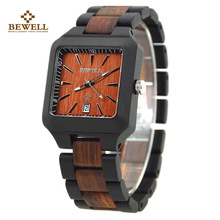 BEWELL Wood Watch Maple Wood Quartz Watch Square Wrist-watch Full Wood with Calendar Daily Waterproof 110A