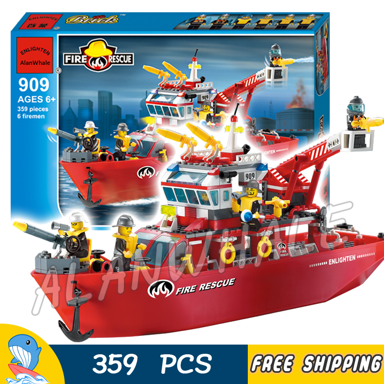 359pcs New City Fire Ship Boat Rescue station Firefighter Fireboat 909 Model Building Blocks Children Toys Compatible with lego 605pcs city scaling ladder fire engines rescue truck 3d firefighter 908 model building blocks children toys compatible with lego