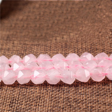 Natural Stone Faceted Rose Pink Quartz Rock Crystal Beads 6 8 10 12 mm Fit Diy Seed beads for Jewelry Making fits Charm Bracelet