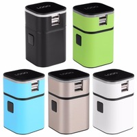 All In One Universal International Plug Adapter 2 USB Port World Travel AC Power Charger Adapter