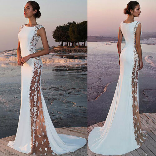 Womens Sexy Sleeveless Lace Patchwork Maxi Dress Formal BallGown White Lace Long Dress Elegant Womens Dresses