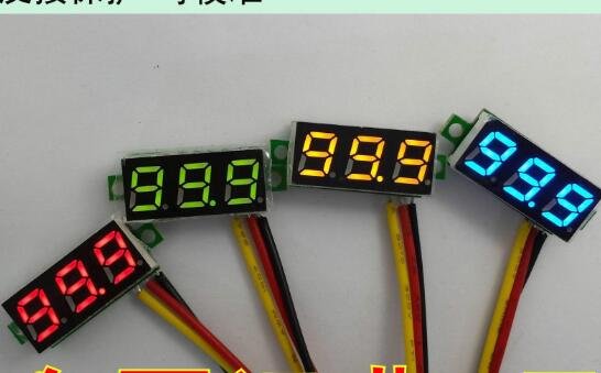 10pcs 0.28 inch ultra-small digital DC voltmeter digital adjustable three-wire <font><b>DC0</b></font>-<font><b>100V</b></font> battery voltmeter image