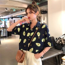 2019 Summer Short Sleeve Turn Down Collar Women Shirt Korean