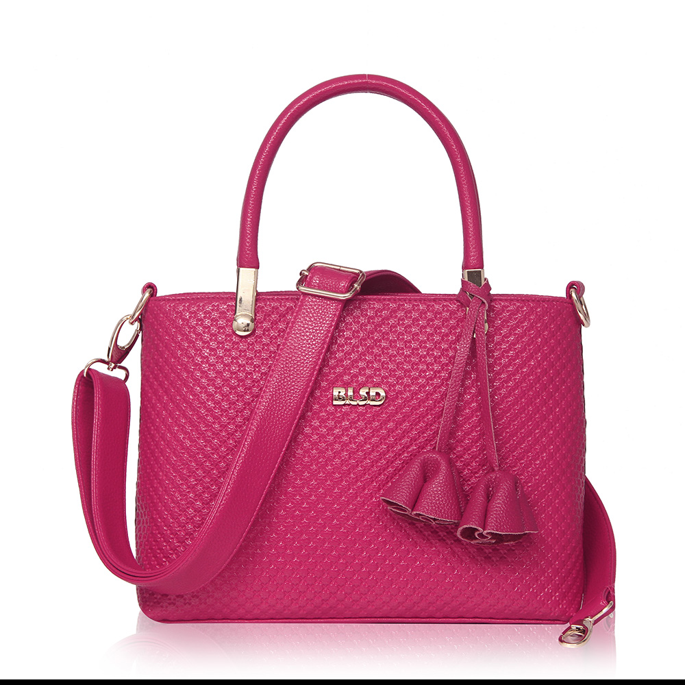 ФОТО High Quality Women's Brand Handbags Lolita Style Elegant Embossed Brief Female Portable Bags PU Leather Tote Bag Hot Pink ST9227