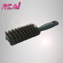 1 Piece Boar Bristle Hair Brush Comb Black Handle with Boar Bristle coated Nylon Stick
