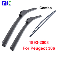 QEEPEI Combo Front And Rear Wiper Blades For Peugeot 306 1993 2003 Silicone Rubber Windscreen Wipers