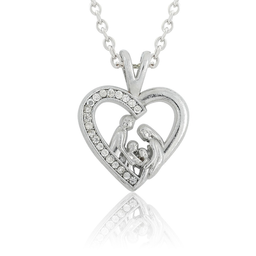 Best Gift For New Wife Part - 50: Minimal Brand Popular 2017 Crystal Heart Best Family Necklace Pendant  Fortune Gift For Your Wife/