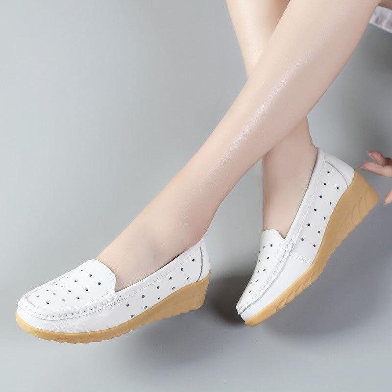 white Confortables Chaussures Slip Travail Rond Faible Bout En Cuir Compensées Black on Casual Mode Femmes Véritable À Z229 Z229 Mocassins Infirmière Nouveau Z229 blue CBqn8At